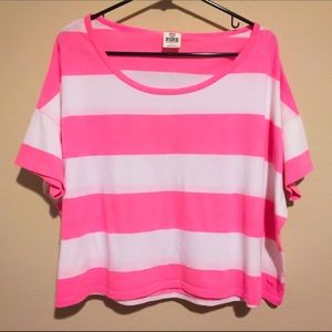 Victoria's Secret PINK Striped Cropped Tee